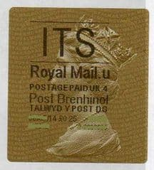 2014 'I.T.S.' (U 4)POST BRENHINOL TYPE 2a LABEL   (NEW SERVICE FROM 30TH MAR 2014)  RARE LATE USE OF 2a