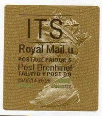 2014 'I.T.S.' (U 5)POST BRENHINOL TYPE 2a LABEL   (NEW SERVICE FROM 30TH MAR 2014)  RARE LATE USE OF 2a