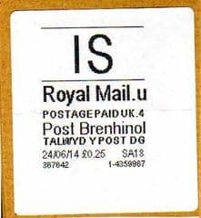 2014 'IS'(U 4) POST BRENHINOL (WHITE)   (NEW SERVICE INDICATOR FROM 11 FEB 2014)  VERY RARE LABELS