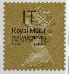 2014 'IT' (R 5) 'ROYAL MAIL' TYPE 1   (RARE LATE USE OF TYPE 1)