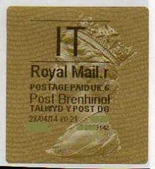 2014 'IT' (R 6) POST BRENHINOL TYPE II  (NEW SERVICE FROM 30TH MARCH 2014)   RARE LATE USE