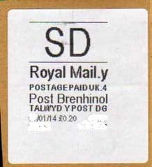 2014 'SD' (Y 4) POST BRENHINOL -VERY RARE LATE USE!