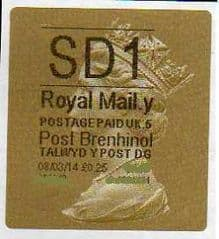 2014 'SD1' (Y 5)POST BRENHINOL TYPE 3 LABEL  (NEW SERVICE FROM 11TH FEB 2014) (RARE CODE 5)