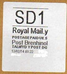 2014 'SD1'(Y 5) POST BRENHINOL (WHITE)  (NEW SERVICE INDICATOR FROM 11 FEB 2014)  VERY RARE LATE USE ON WHITE LABELS