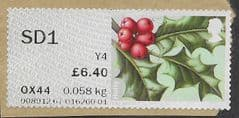 2014 SD1  (Y4)(POSTCODED) 'WINTER GREENERY - HOLLY' FINE USED