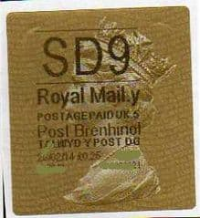 2014 'SD9' (Y 5)POST BRENHINOL TYPE 2a LABEL (NEW SERVICE FROM 11TH FEB 2014) RARE CODE 5