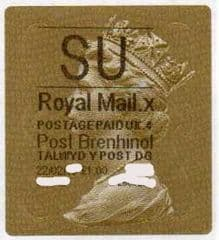 2014 'SU' (X 4) WALSALL WELSH GOLD TYPE 3 LABEL
