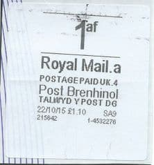 2015 1af (A 4)(£1.10) POST BRENHINOL  *VERY RARE LATE USE*