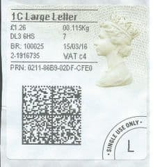 2015 '1C LARGE LETTER  (C 4) 'TYPE 4a (2D BARCODED)  (FORMERLY 1LG)