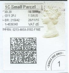 2015 '1C SMALL PARCEL  (d 5) 'TYPE 4a (2D BARCODED)   (FORMERLY 1SP d 5)   FINE USED