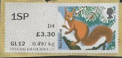 2015 1SP (D 4)  'FUR AND FEATHERS - RED SQUIRREL( POSTCODED)' FINE USED
