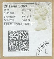 2015 '2C LARGE LETTER' (f 4) 'TYPE 4a (2D BARCODED) (FORMERLY 2LG)