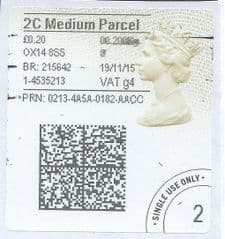 2015 ' 2C MEDIUM PARCEL  (g 4) 'TYPE 4a (2D BARCODED)  (FORMERLY 2MP g 4)  FINE USED