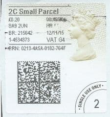 2015 '2C SMALL PARCEL'  (G 4) 'TYPE 4a (2D BARCODED)  (FORMERLY 2SP)