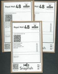 2015 3x (S/A)  'ROYAL MAIL 48 ' 'SNAPFISH' LABEL  (POSTAGE ON ACCOUNT) LABELS