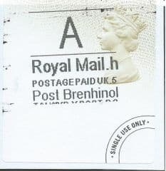 2015 'A' ( h 5) POST BRENHINOL TYPE 4 LABEL WITH ONLY PARTIAL PRINTING  ONLY