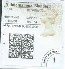 2015 'A' INTERNATIONAL STANDARD (h 4) TYPE 4a ( 2D BARCODED)     FINE USED