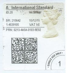 2015 'A' INTERNATIONAL STANDARD (h 5) TYPE 4a ( 2D BARCODED)    FINE USED