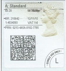 2015 'A' STANDARD (h 4) TYPE 4a ( 2D BARCODED)  FINE USED