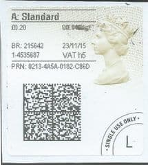2015 'A' STANDARD (h 5) TYPE 4a ( 2D BARCODED)    FINE USED