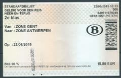 2015 BELGIUM RAILWAY TICKET - 2ND CLASS 'GENT -ANTWERPEN'  RETURN