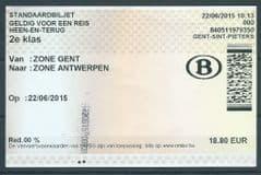 2015 BELGIUM RAILWAY TICKETS - 2ND CLASS 'GENT -ANTWERPEN' RETURN
