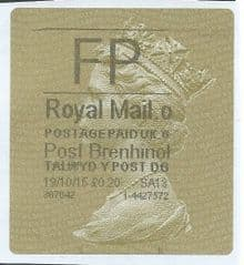 2015 FP ( o 6) POST BRENHINOL TYPE II WITH CODES  RARE CODE (VERY LATE USE)