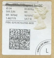 2015 'ROYAL MAIL SIGN FOR 2C  (F 4) 'TYPE 4a (2D BARCODED)  (FORMERLY 2LG)