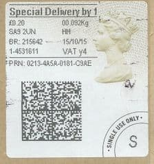 2015 'SPECIAL DELIVERY BY 1 (Y 4) 'TYPE 4a (2D BARCODED)