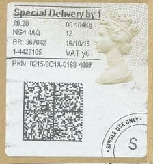 2015 'SPECIAL DELIVERY BY 1 (Y 6) 'TYPE 4a (2D BARCODED)  (RARE'Y 6' CODE)