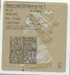 2015 SPECIAL DELIVERY BY 1  (Y4) TYPE 4 PRINTING ON GOLD TYPE 3 LABEL