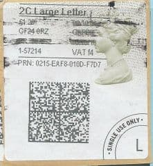 2016 2C LARGE LETTER ( f 4) TYPE 4b HORIZON LABEL ( 2D BARCODED)  (GREY/ GREEN VARIATION)  FINE USED