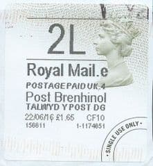 2016 2l (e 4) TYPE 4b POST BRENHINOL LABEL ( 2D BARCODED) (GREY/ GREEN VARIATION)  FINE USED