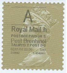2016 'A' (H 5 ) (£0.00) POST BRENHINOL (LATE USE) **RARE**  RARE VARIATION ON ANY LABEL !