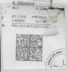 2016 A: STANDARD (H 5) TYPE 4b HORIZON LABEL ( 2D BARCODED)