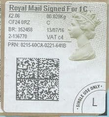 2016 ROYAL MAIL SIGNED FOR 1C ( c 4) TYPE 4b HORIZON LABEL ( 2D BARCODED)  (GREY/ GREEN VARIATION)  FINE USED