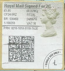 2016 ROYAL MAIL SIGNED FOR 2C ( f 4) TYPE 4b HORIZON LABEL ( 2D BARCODED)  (GREY/ GREEN VARIATION)  FINE USED