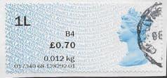 2017 £0.70 '1L' (B4) '2ND CLASS'. ( CL17)(ERROR) FINE USED