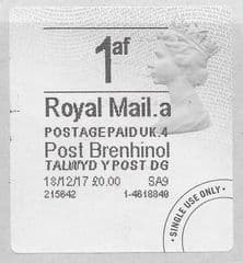 2017 1AF (A 4) (£0.00) POST BRENHINOL TYPE 4a FINE USED