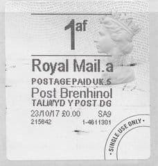 2017 1AF (A 5) (£0.00) POST BRENHINOL TYPE 4a FINE USED