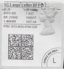 2017 1C LARGE LETTER B.F.P.O ( N 4)(£0.20) TYPE 4b HORIZON LABEL ( 2D BARCODED)