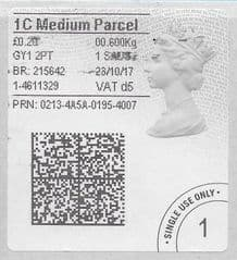 2017 1C MEDIUM PARCEL ( D 5) TYPE 4b HORIZON LABEL ( 2D BARCODED)