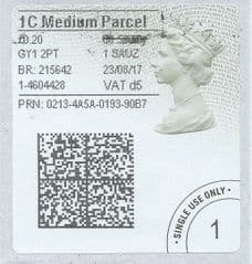 2017 1C MEDIUM PARCEL ( d 5) TYPE 4b HORIZON LABEL ( 2D BARCODED)  (GREY/ GREEN VARIATION)