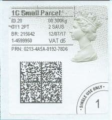 2017 1C SMALL PARCEL ( d 5) TYPE 4b HORIZON LABEL ( 2D BARCODED) (GREY/ GREEN VARIATION)