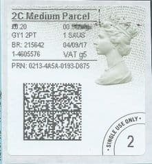 2017 2C MEDIUM PARCEL ( g 5) TYPE 4b HORIZON LABEL ( 2D BARCODED)  (GREY/ GREEN VARIATION)