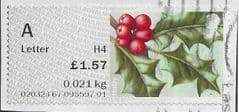 2017 'A' LETTER (H4) 'SYMBOLIC FLOWERS -HOLLY (R17YAL)' FINE USED