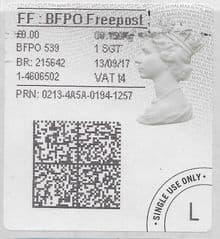 2017 FF: B.F.P.O. FREEPOST ( t 4)(£0.00)  TYPE 4b HORIZON LABEL ( 2D BARCODED)