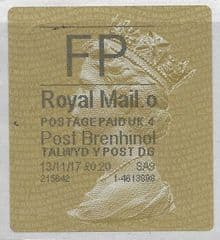 2017 FP ( O 4) 'POST BRENHINOL' TYPE 2a (LATE USE OF GOLD LABEL)