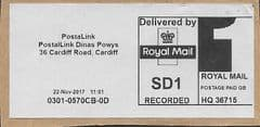 2017 'SD1 RECORDED' POSTALINK, CARDIFF (REF: HQ36715)