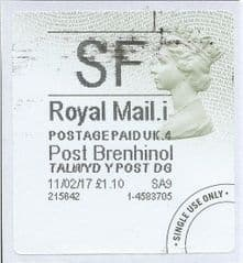 2017 SF (I 4)  TYPE 4b POST BRENHINOL LABEL ( 2D BARCODED)  (GREY/ GREEN VARIATION)  FINE USED
